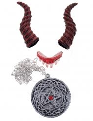 Schauriges Dämon-Accessoire-Set Halloween-Zubehör Erwachsene 3-teilig rot-silber
