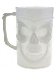 Henkelglas mit Totenkopf nachtleuchtendes-Partyzubehör weiss 13 cm