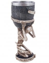 Skelett-Kelch Trinkbecher für Halloween beigefarben-grau 18 cm