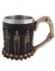 Skelett-Becher Wikingerbecher Tischdekoration schwarz-silberfarben-weiss 12 cm