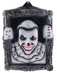 Beleuchtets Horrorclown-Gemälde Halloween-Deko schwarz-weiß-rot 40 x 50 cm