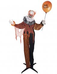 Animierter Clown Halloween-Dekoration Licht & Sound bunt 90 cm