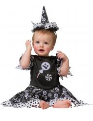 Zucker-Hexe Mädchenkostüm für Halloween schwarz-weiss