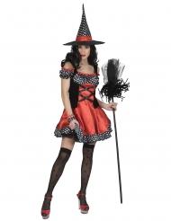 Hexenkostüm mit Polka-Dots Halloween-Kostüm rot-schwarz-weiss