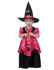 Schaurige Hexe Mädchenkostüm für Halloween schwarz-pink