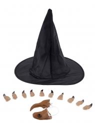 Hexen-Set mit Hexenhut und Hexennase schwarz-beige