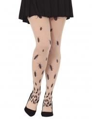 Kakerlaken-Strumpfhose für Damen Accessoire für Halloween beige-schwarz