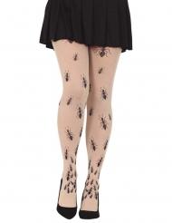 Ungeziefer-Strumpfhose für Halloween Damen-Accessoire weiss-schwarz
