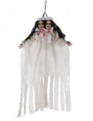 Schaurige Zwillingen Deko-Figuren für Halloween Partydekoration weiss-schwarz-rot