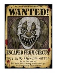 Wanted! Horrorclown-Poster Wanddekoration für Halloween braun-schwarz 30 x 40 cm