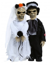 Animiertes Brautpaar Halloween-Dekoration mit Licht und Soundeffekt weiss-schwarz 48 cm