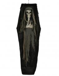 Leiche im Sarg mit Leuchteffekt Skelett-Deko für Halloween schwarz-braun 160 cm