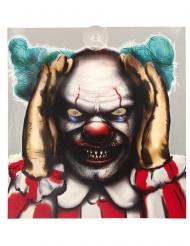Neugieriger Horrorclown Deko-Gegenstand für Halloween bunt 28 x 31 cm