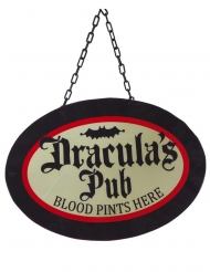 Dracula´s Pub-Dekoschild für eine Halloweenparty schwarz-rot-beige 47 x 33 cm