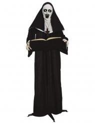 Geister-Nonne Dekofigur für Halloween schwarz-weiss 165 cm