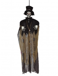Voodoo-Figur Mann mit Leuchtfunktion Deko für Halloween schwarz-braun-weiss 120 cm