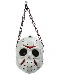 Hockey-Maske Halloween-Dekoration Serienmörder-Zubehör weiss-rot-grau