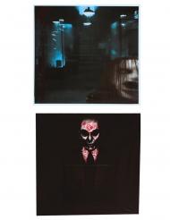 Schaurige Fenster-Dekoration mit lebendigen Toten Partydekoration 2 Stück schwarz 45 x 45 cm