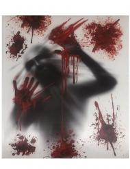 Blutverschmierte Fensterdeko für Halloween grau-rot 30 x 40 cm
