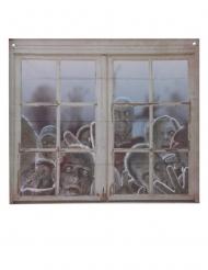 Fensterdeko mit Zombies Halloween-Dekoration grau 80 x 90 cm