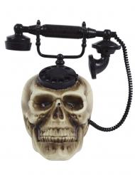 Telefon mit Totenschädel Party-Animation mit Sound Halloween-Deko beige-schwarz