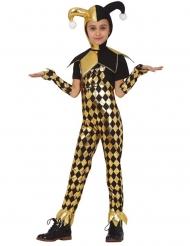 Schimmerndes Harlekin-Kostüm für Kinder Halloween und Fasching schwarz-gold