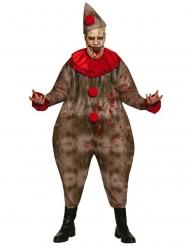 Grusteliges Clownskostüm für Erwachsene Horrorclown braun-rot
