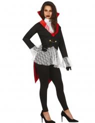 Schicker Vampir-Frack für Damen schwarz-weiss-rot