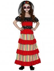 Dia de los muertos-Mädchenkostüm Halloween-Verkleidung rot-schwarz