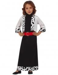 Fräulein Dalmatiner-Kostüm für Mädchen Faschingskostüm schwarz-weiss-rot