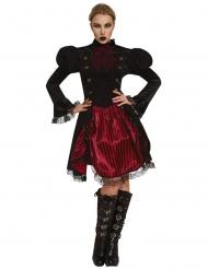 Viktorianisches Steampunk-Damenkostüm schwarz-rot