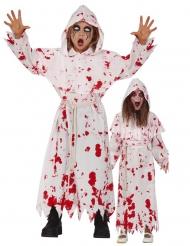 Blutrünstiges Mönchkostüm für Kinder Halloweenkostüm weiss-rot