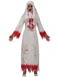 Blutiges Nonnenkostüm für Damen Halloween-Verkleidung weiss-rot