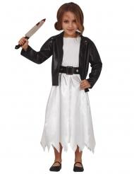 Schaurige Killerpuppe-Mädchenkostüm für Halloween weiss-schwarz