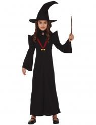 Magie-Professorin-Kostüm für Kinder Halloween-Hexe mit Hut schwarz
