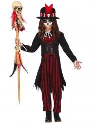 Voodoo-Zauberin Kinderkostüm Mädchenkostüm Schwarz Rot