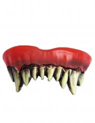 Prothese für Horrorclown-Kostüm künstliches-Gebiss Halloween rot-weiss