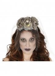 Braut-Diadem Halloween-Accessoire mit Totenschädel grau-weiss