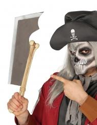 Schaurige Knochen-Machete Halloween-Spielzeugwaffe silber-beige 50 cm