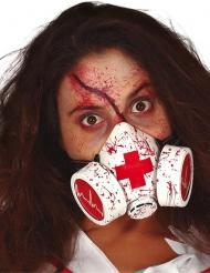 Blutverschmierte Gasmaske Halloween-Accessoire Horror-Arzt weiss-rot