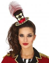 Tag der Toten-Miniatur-Hut Damen-Accessoire für Halloween schwarz-rot