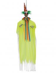 Schauriger Horrorclown-Hängefigur für Halloween gelb-bunt 153 cm