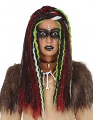 Voodoo-Perücke Halloween-Accessoire für Erwachsene schwarz-rot-grün