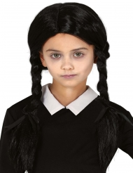 Perücke mit Zöpfen für Kinder Halloween-Accessoire schwarz
