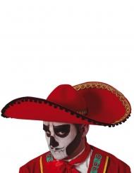 Mexikanischer Sombrero Kostüm-Zubehör für Erwachsene rot-gold-schwarz