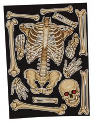 Fenster-Sticker Skelett-Motiv für Halloween Party-Deko beigefarben 30 x 40 cm