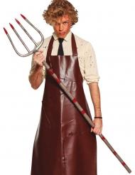 Blutverschmierte Heugabel Zubehör für Halloween Spielzeug-Waffe silber-rot 155 cm