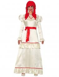 Besessene Puppe Damenkostüm für Halloween weiß-rot