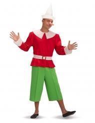 Pinocchio™-Kostüm für Erwachsene Lizenzkostüm rot-grün-weiss