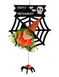 Hängedeko Hexe Raumdekoration für Halloween schwarz-orange-grün 50cm
